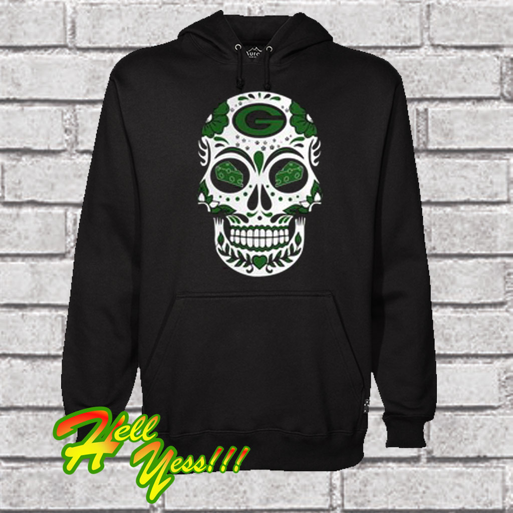 Green Bay Packers Sugar Skull With Cheese Eyes Hoodie 0ccea5d6d