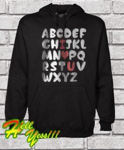 ABC I Love You Alphabet Valentines Hoodie