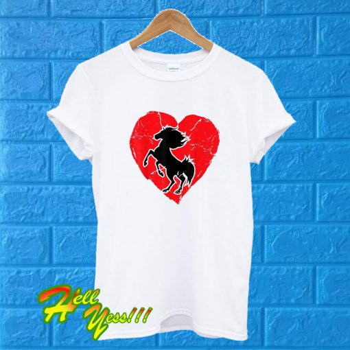 Heart Horse Shadow Equestrian Horse Riding T Shirt