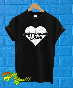 Retro Delhi India Skyline Heart T Shirt